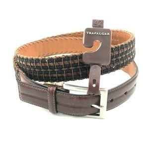 """Trafalgar Sz 42"""" Leather & Cord Belt NWT 1103TF13"""